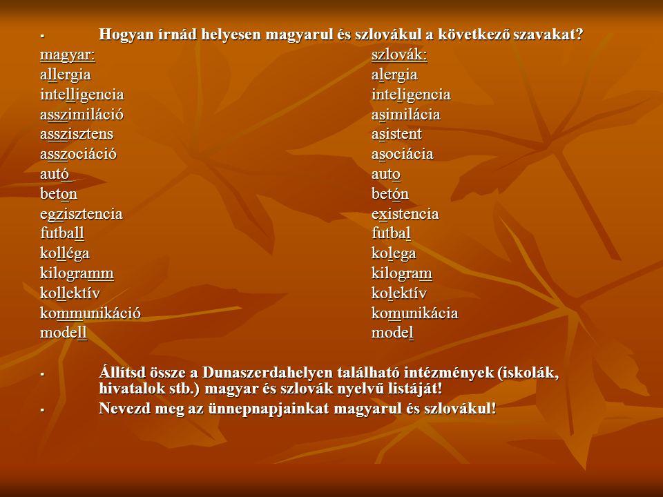  Hogyan írnád helyesen magyarul és szlovákul a következő szavakat? magyar:szlovák: allergiaalergia intelligenciainteligencia asszimilációasimilácia a