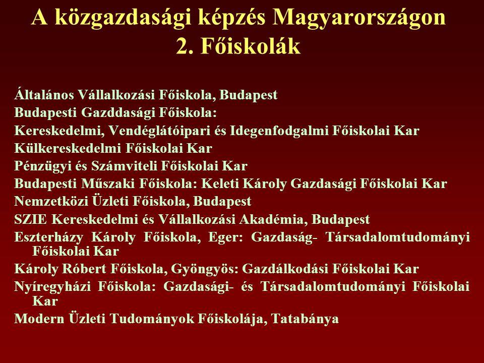 A közgazdasági képzés Magyarországon 2.