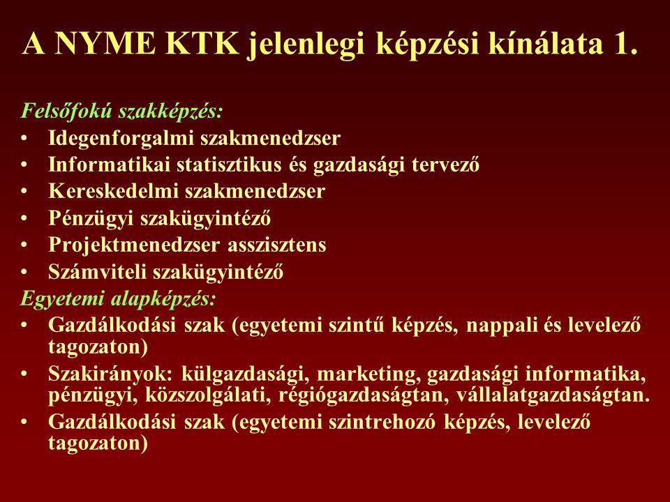 A NYME KTK jelenlegi képzési kínálata 1.