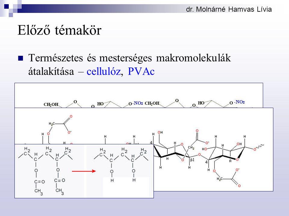 dr. Molnárné Hamvas Lívia Előző témakör Természetes és mesterséges makromolekulák átalakítása – cellulóz, PVAc