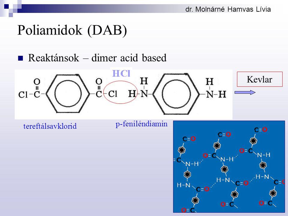 dr. Molnárné Hamvas Lívia Poliamidok (DAB) Reaktánsok – dimer acid based Kevlar tereftálsavklorid p-feniléndiamin
