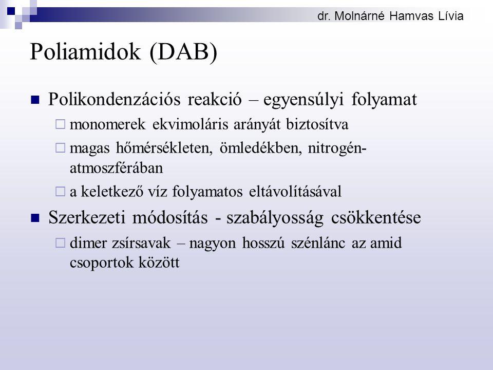 dr. Molnárné Hamvas Lívia Poliamidok (DAB) Polikondenzációs reakció – egyensúlyi folyamat  monomerek ekvimoláris arányát biztosítva  magas hőmérsékl
