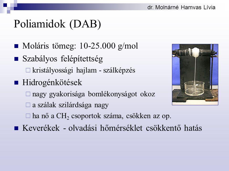 dr. Molnárné Hamvas Lívia Poliamidok (DAB) Moláris tömeg: 10-25.000 g/mol Szabályos felépítettség  kristályossági hajlam - szálképzés Hidrogénkötések