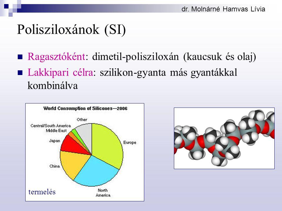 dr. Molnárné Hamvas Lívia Polisziloxánok (SI) Ragasztóként: dimetil-polisziloxán (kaucsuk és olaj) Lakkipari célra: szilikon-gyanta más gyantákkal kom
