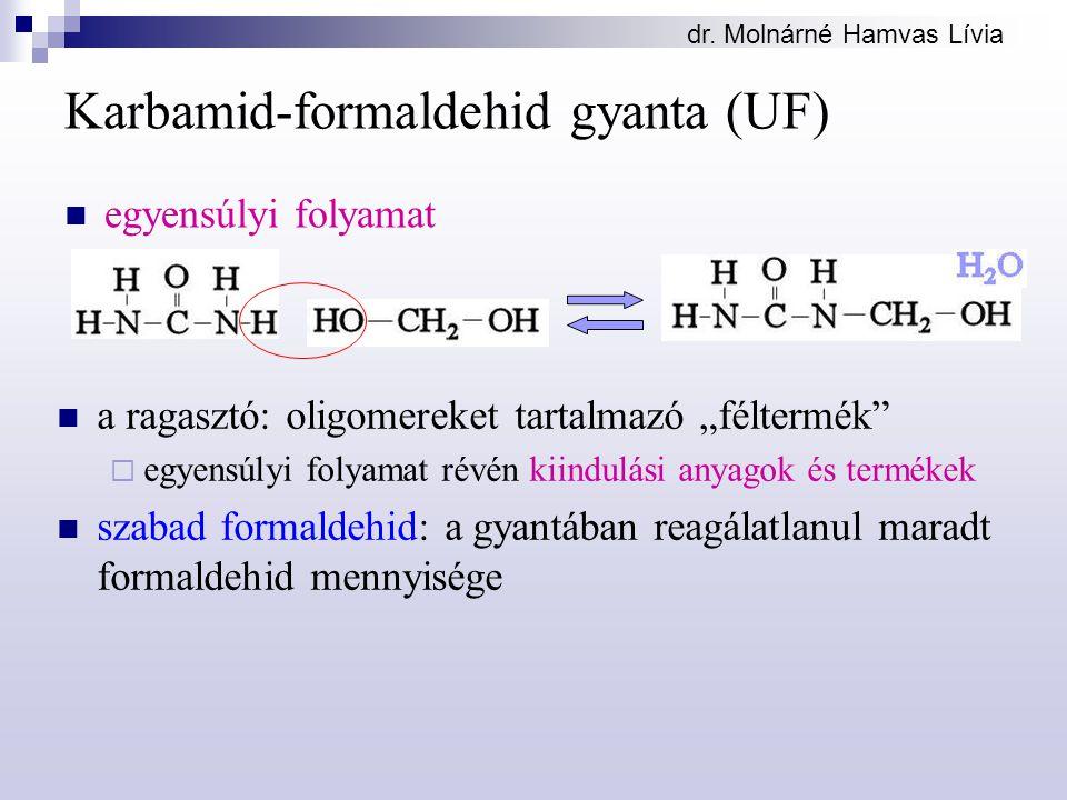 """dr. Molnárné Hamvas Lívia Karbamid-formaldehid gyanta (UF) egyensúlyi folyamat a ragasztó: oligomereket tartalmazó """"féltermék""""  egyensúlyi folyamat r"""