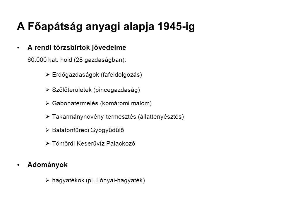 A Főapátság anyagi alapja 1945-ig A rendi törzsbirtok jövedelme 60.000 kat. hold (28 gazdaságban):  Erdőgazdaságok (fafeldolgozás)  Szőlőterületek (
