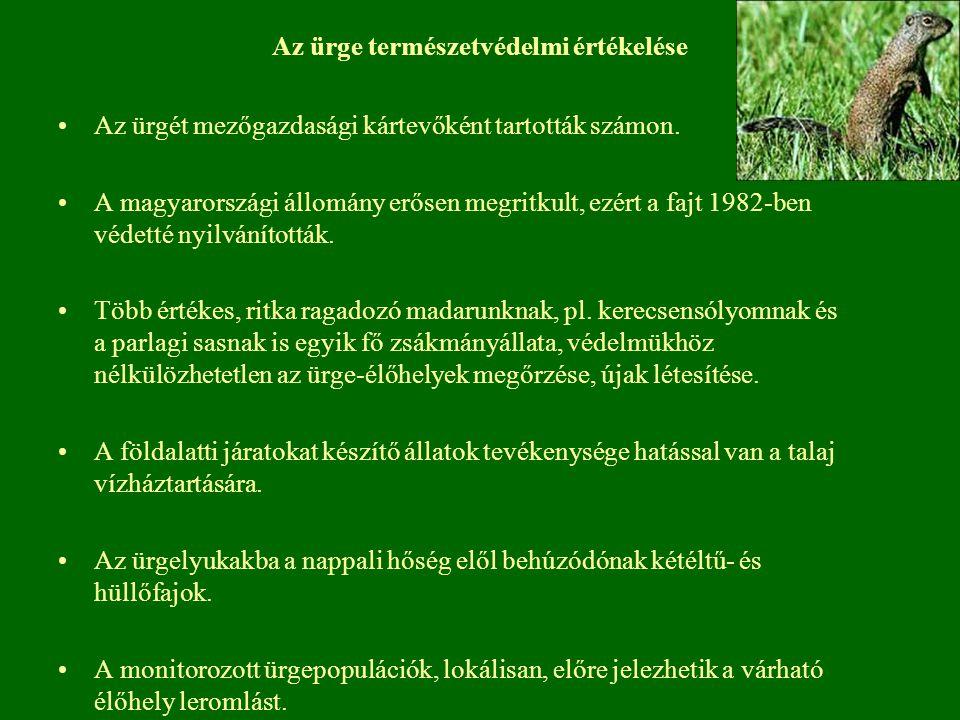 Az ürge természetvédelmi értékelése Az ürgét mezőgazdasági kártevőként tartották számon. A magyarországi állomány erősen megritkult, ezért a fajt 1982