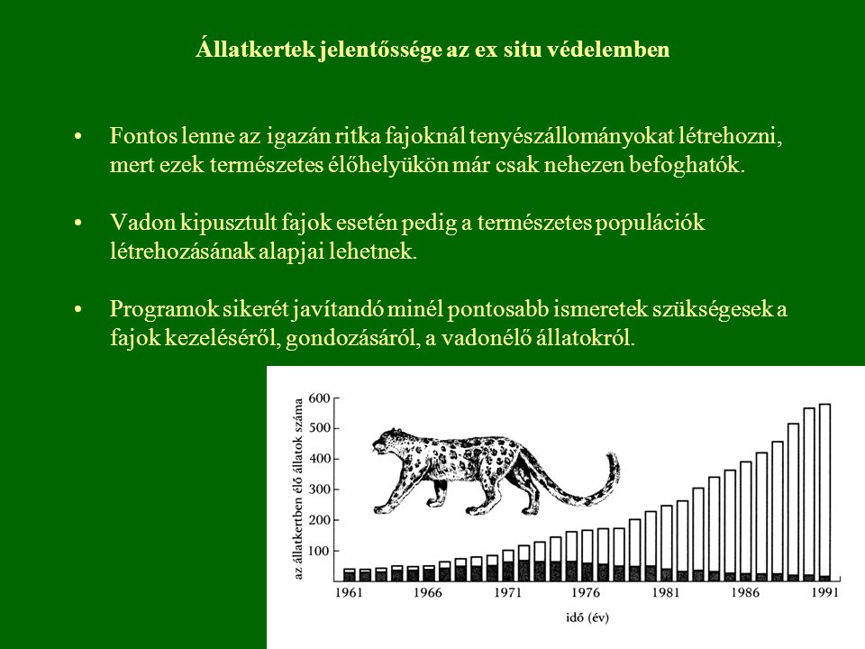 Állatkertek jelentőssége az ex situ védelemben Fontos lenne az igazán ritka fajoknál tenyészállományokat létrehozni, mert ezek természetes élőhelyükön