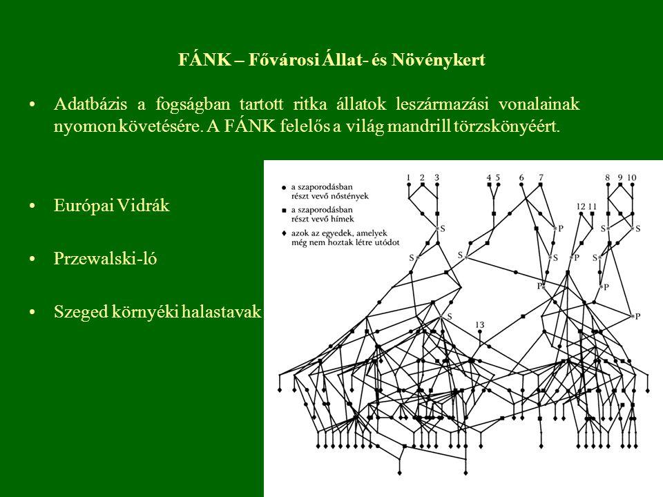 FÁNK – Fővárosi Állat- és Növénykert Adatbázis a fogságban tartott ritka állatok leszármazási vonalainak nyomon követésére.
