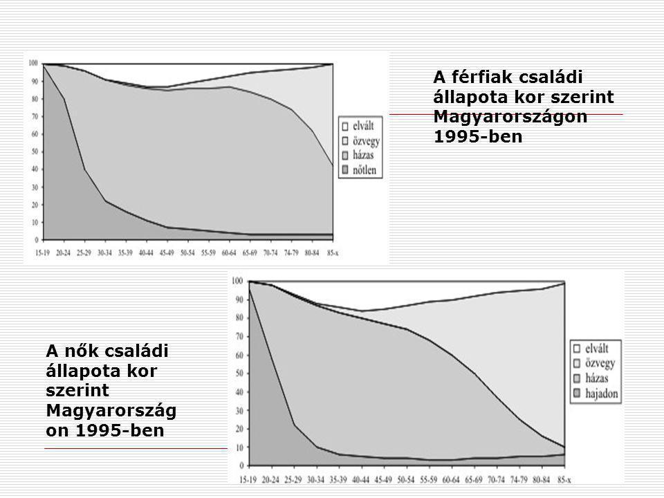 A férfiak családi állapota kor szerint Magyarországon 1995-ben A nők családi állapota kor szerint Magyarország on 1995-ben