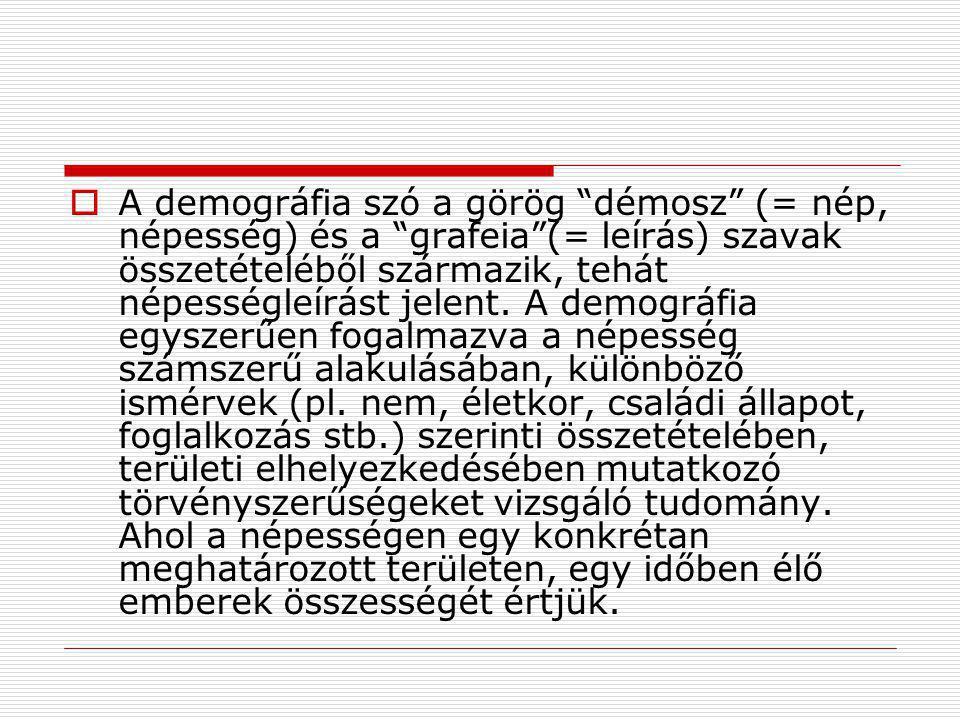 """ A demográfia szó a görög """"démosz"""" (= nép, népesség) és a """"grafeia""""(= leírás) szavak összetételéből származik, tehát népességleírást jelent. A demogr"""