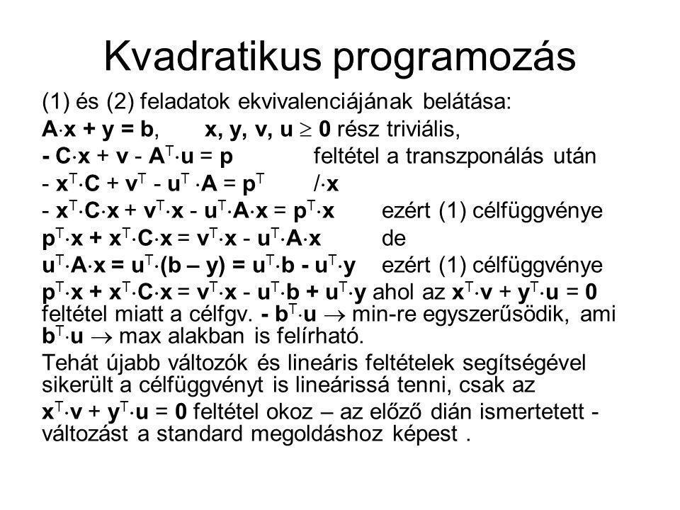 Kvadratikus programozás (1) és (2) feladatok ekvivalenciájának belátása: A  x + y = b, x, y, v, u  0 rész triviális, - C  x + v - A T  u = pfeltét