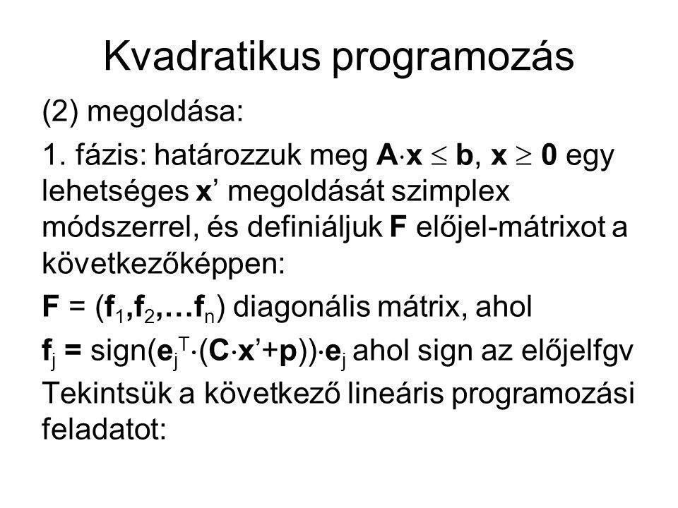 Kvadratikus programozás (2) megoldása: 1. fázis: határozzuk meg A  x  b, x  0 egy lehetséges x' megoldását szimplex módszerrel, és definiáljuk F el