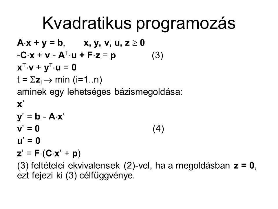 Kvadratikus programozás A  x + y = b, x, y, v, u, z  0 -C  x + v - A T  u + F  z = p (3) x T  v + y T  u = 0 t =  z i  min (i=1..n) aminek eg