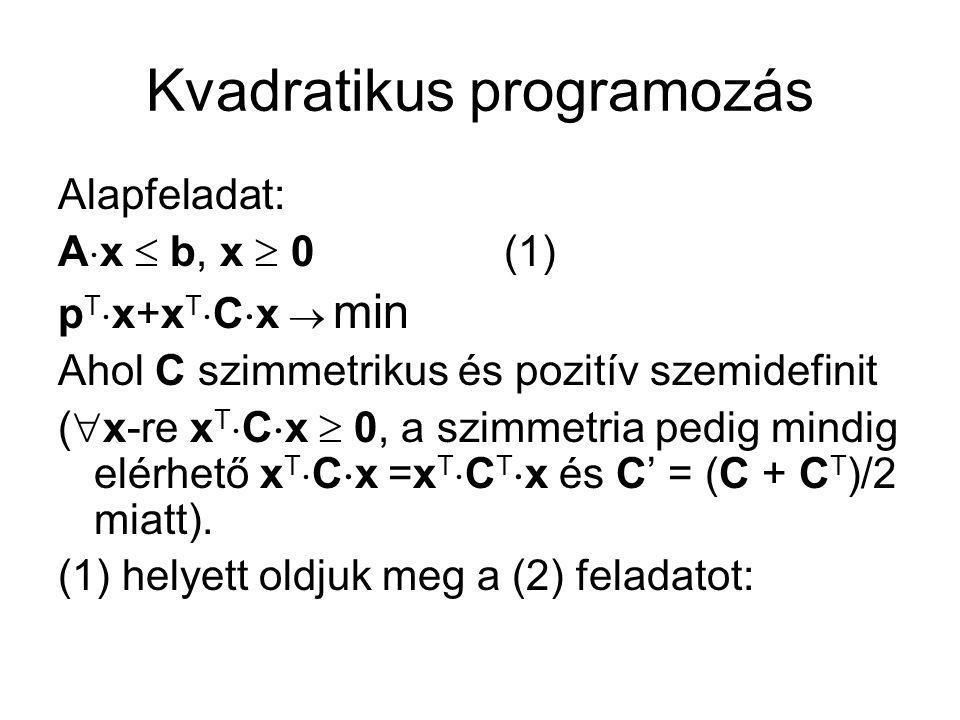 Kvadratikus programozás A  x + y = b, x, y, v, u  0 - C  x + v - A T  u = p (2) x T  v + y T  u = 0 b T  u  max (2) már közel lineáris programozási feladat, ahol az x T  v + y T  u = 0 nemlineáris feltételt úgy teljesítjük, hogy x i és v i, illetve y i és u i ismeretlenek nem lehetnek egyidejűleg a bázisban, mert a különben pozitív tagú összeg csak akkor lesz 0, ha minden tagja 0, ezért a tagok egyik tényezője kötelezően 0 lesz, tehát ismeretlenként nem tartozhat a bázisba.