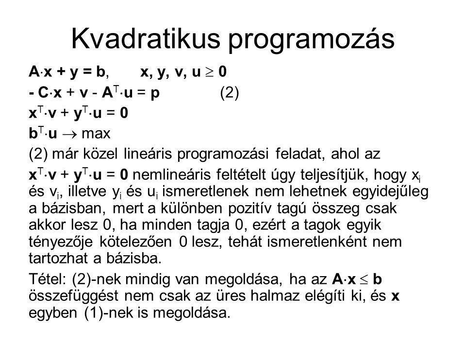 Kvadratikus programozás A  x + y = b, x, y, v, u  0 - C  x + v - A T  u = p (2) x T  v + y T  u = 0 b T  u  max (2) már közel lineáris program