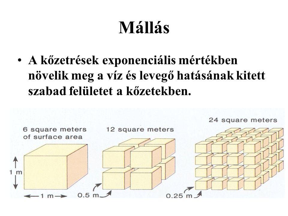Utólagos átalakulások Metamorfózis (kőzetátalakulás) –Jelentős nyomás és/vagy hőmérséklet –Kontakt (T), dinamo (P) és regionális (P, T) –Izokémikus (a vegyi összetétel változása nélkül) és allokémikus (a vegyi összetétel változásával) –Orto (ha magmás kőzetből) és para (ha üledékesből) keletkezett –Mélység szerint: epizóna (felső), mezozóna (középső) és katazóna (alsó)
