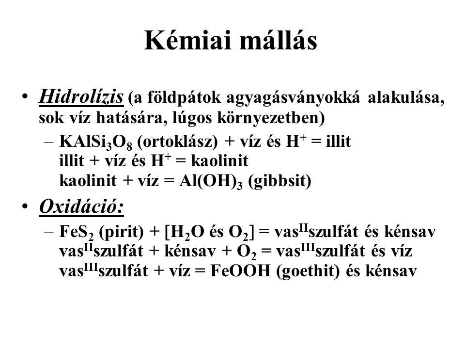 Kémiai mállás Hidrolízis (a földpátok agyagásványokká alakulása, sok víz hatására, lúgos környezetben) –KAlSi 3 O 8 (ortoklász) + víz és H + = illit illit + víz és H + = kaolinit kaolinit + víz = Al(OH) 3 (gibbsit) Oxidáció: –FeS 2 (pirit) +  H 2 O és O 2  = vas II szulfát és kénsav vas II szulfát + kénsav + O 2 = vas III szulfát és víz vas III szulfát + víz = FeOOH (goethit) és kénsav