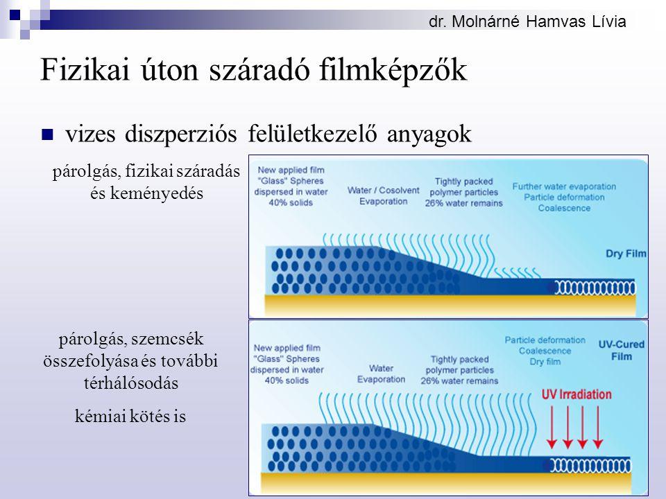 dr. Molnárné Hamvas Lívia Fizikai úton száradó filmképzők vizes diszperziós felületkezelő anyagok párolgás, fizikai száradás és keményedés párolgás, s