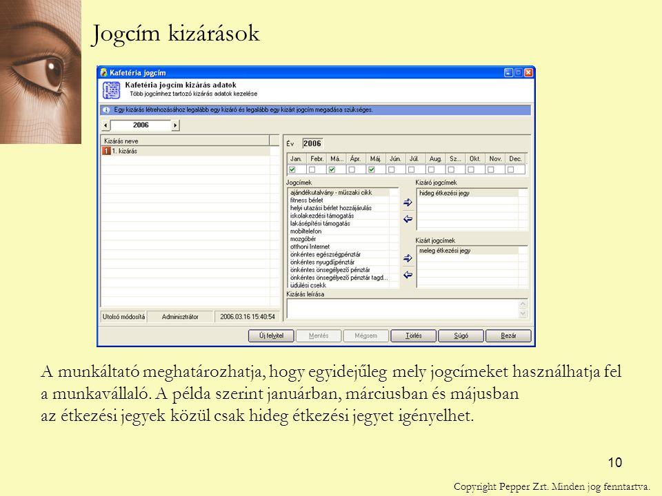 10 Jogcím kizárások A munkáltató meghatározhatja, hogy egyidejűleg mely jogcímeket használhatja fel a munkavállaló.