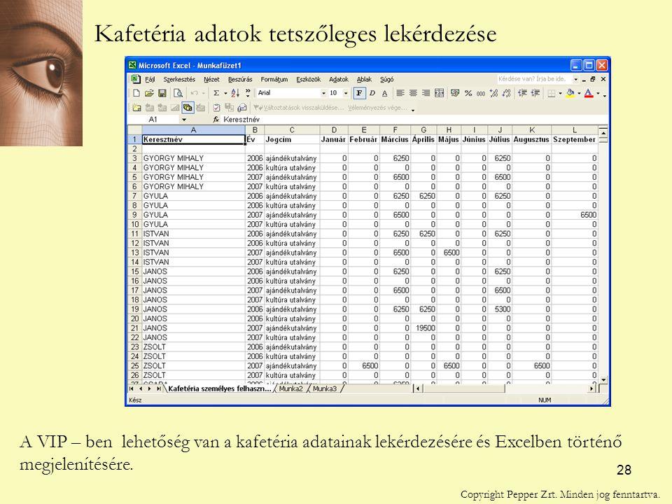 28 Kafetéria adatok tetszőleges lekérdezése A VIP – ben lehetőség van a kafetéria adatainak lekérdezésére és Excelben történő megjelenítésére.
