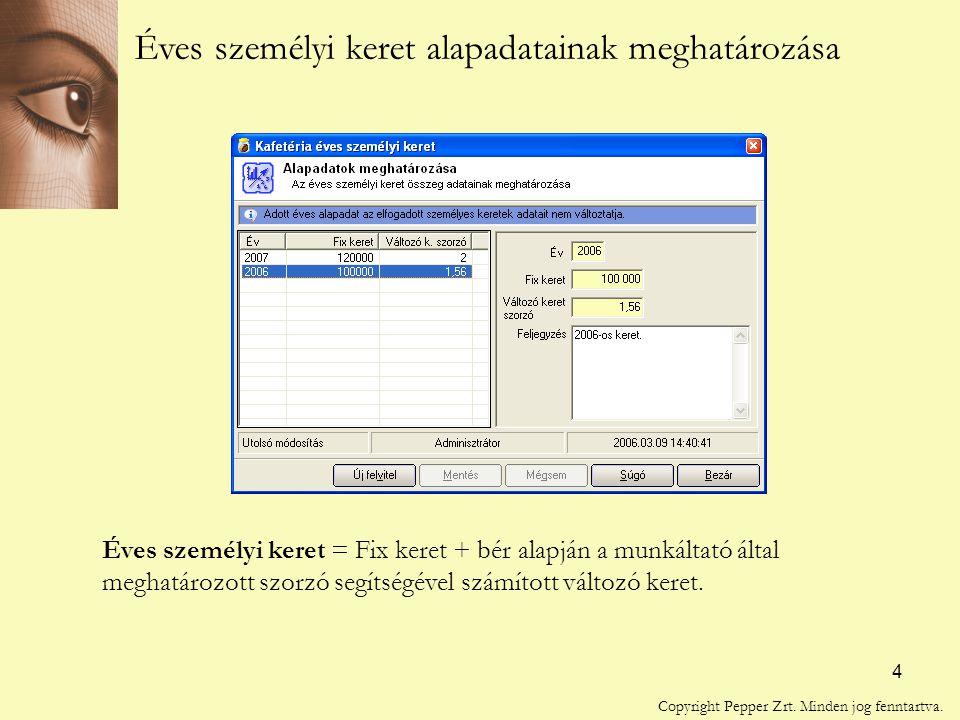 4 Éves személyi keret alapadatainak meghatározása Éves személyi keret = Fix keret + bér alapján a munkáltató által meghatározott szorzó segítségével számított változó keret.