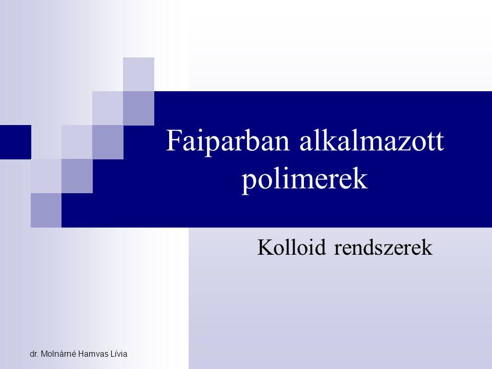 dr. Molnárné Hamvas Lívia Faiparban alkalmazott polimerek Kolloid rendszerek