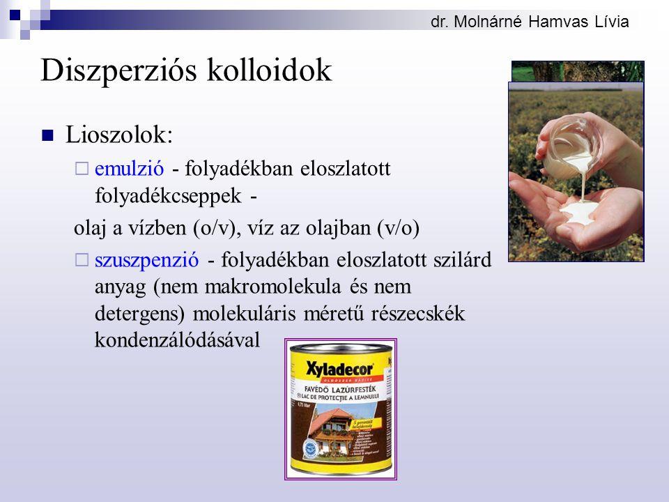 dr. Molnárné Hamvas Lívia Diszperziós kolloidok Lioszolok:  emulzió - folyadékban eloszlatott folyadékcseppek - olaj a vízben (o/v), víz az olajban (