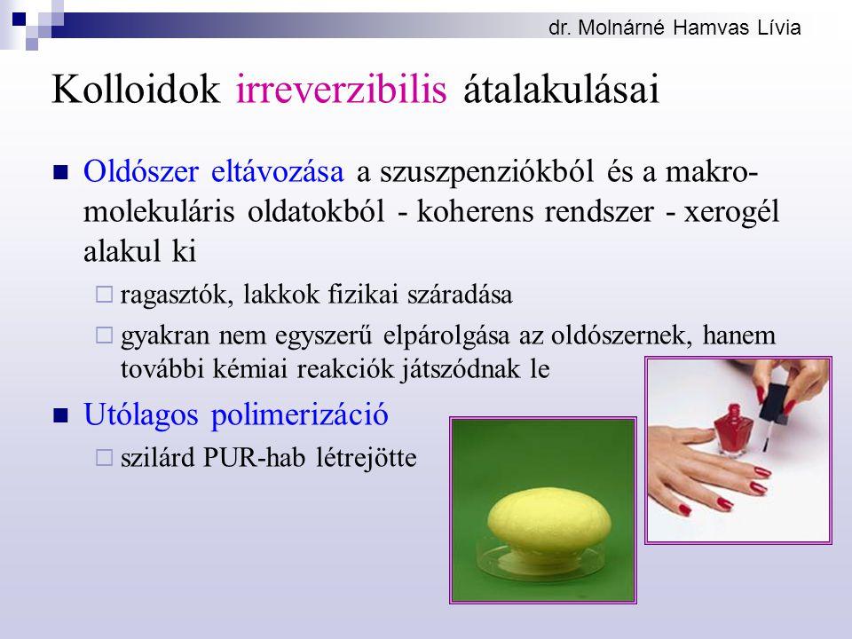 dr. Molnárné Hamvas Lívia Kolloidok irreverzibilis átalakulásai Oldószer eltávozása a szuszpenziókból és a makro- molekuláris oldatokból - koherens re