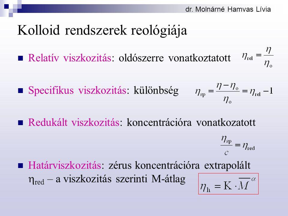 dr. Molnárné Hamvas Lívia Kolloid rendszerek reológiája Relatív viszkozitás: oldószerre vonatkoztatott Specifikus viszkozitás: különbség Redukált visz