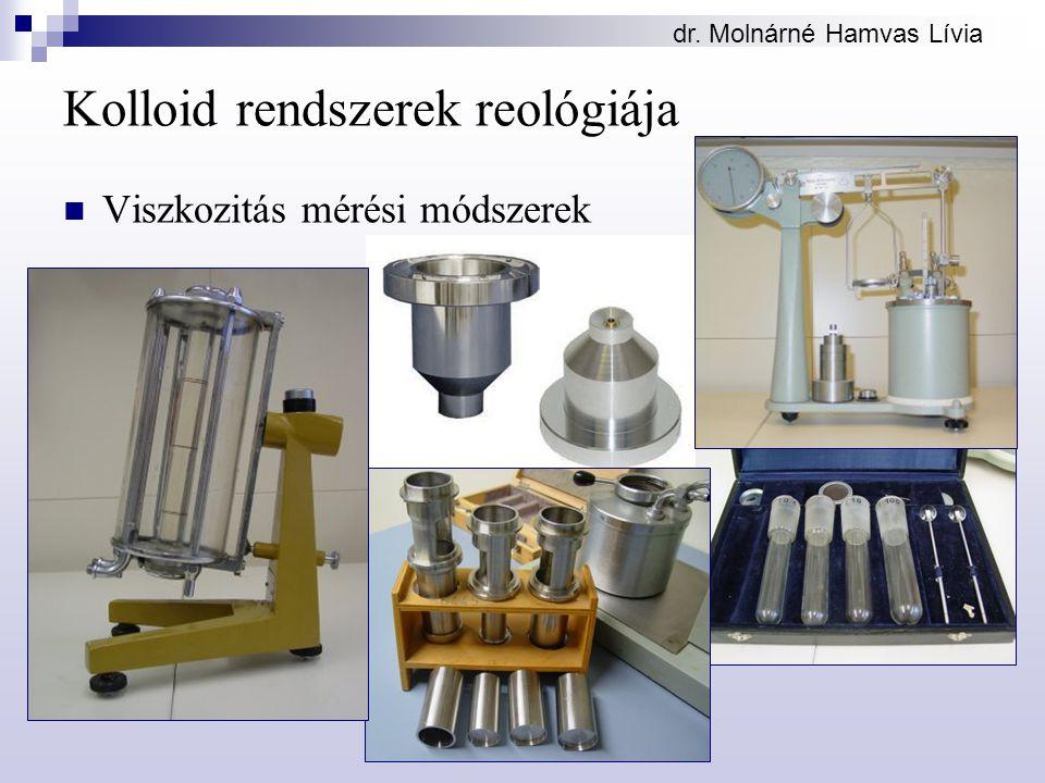 dr. Molnárné Hamvas Lívia Kolloid rendszerek reológiája Viszkozitás mérési módszerek