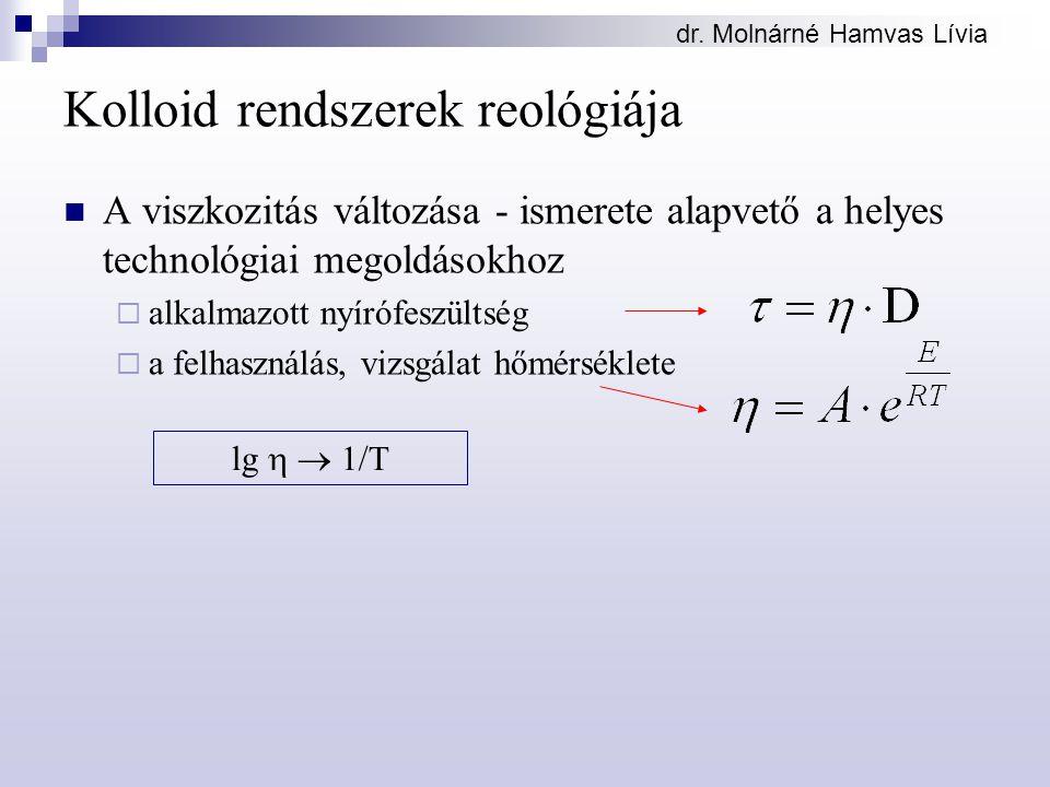 dr. Molnárné Hamvas Lívia Kolloid rendszerek reológiája A viszkozitás változása - ismerete alapvető a helyes technológiai megoldásokhoz  alkalmazott