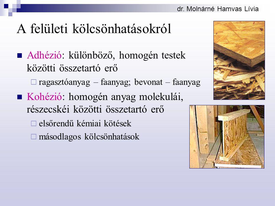 dr. Molnárné Hamvas Lívia A felületi kölcsönhatásokról Adhézió: különböző, homogén testek közötti összetartó erő  ragasztóanyag – faanyag; bevonat –