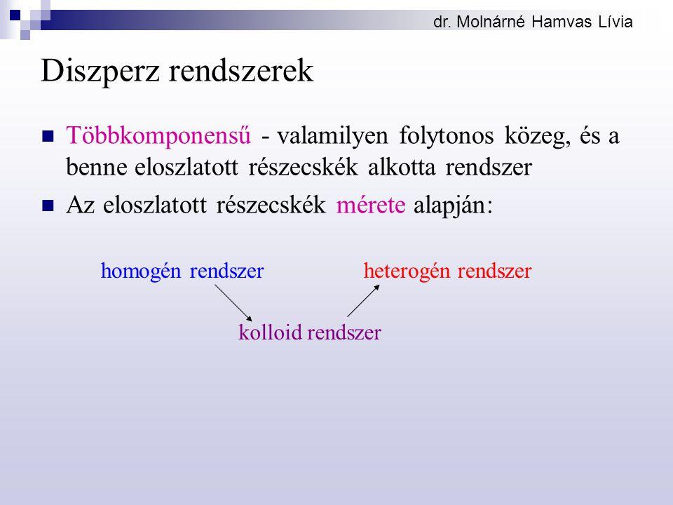 dr. Molnárné Hamvas Lívia Diszperz rendszerek Többkomponensű - valamilyen folytonos közeg, és a benne eloszlatott részecskék alkotta rendszer Az elosz