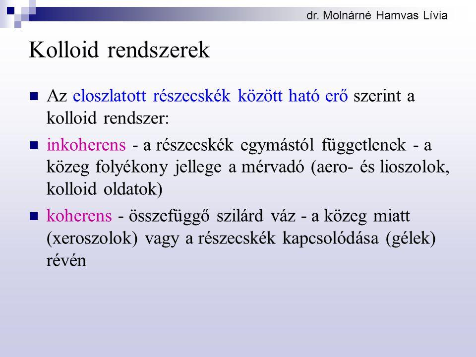 dr. Molnárné Hamvas Lívia Kolloid rendszerek Az eloszlatott részecskék között ható erő szerint a kolloid rendszer: inkoherens - a részecskék egymástól