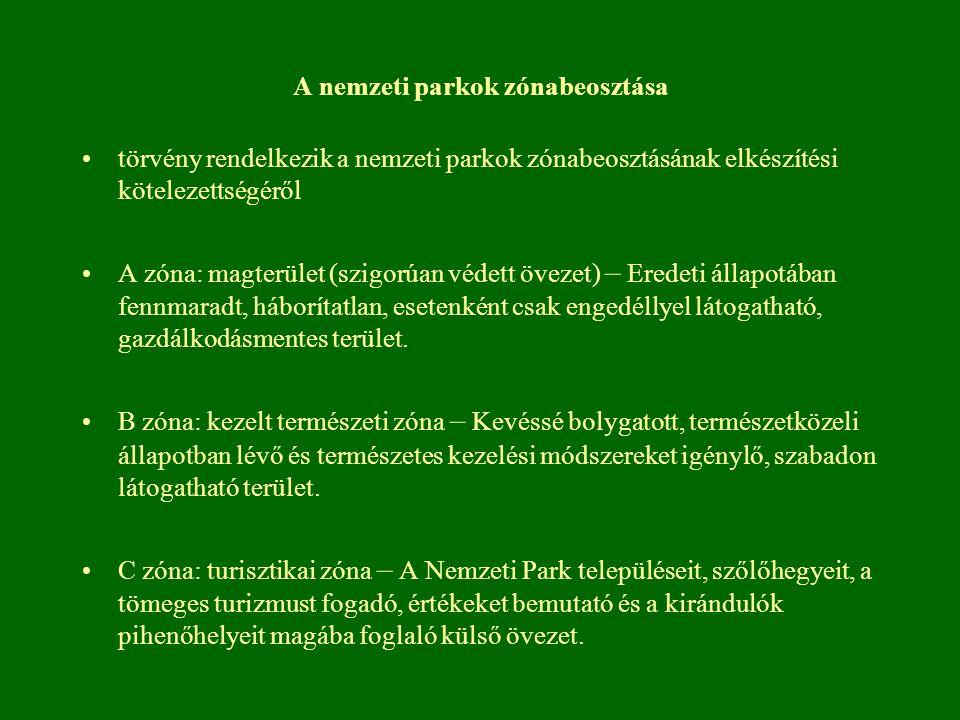 A nemzeti parkok zónabeosztása törvény rendelkezik a nemzeti parkok zónabeosztásának elkészítési kötelezettségéről A zóna: magterület (szigorúan védet