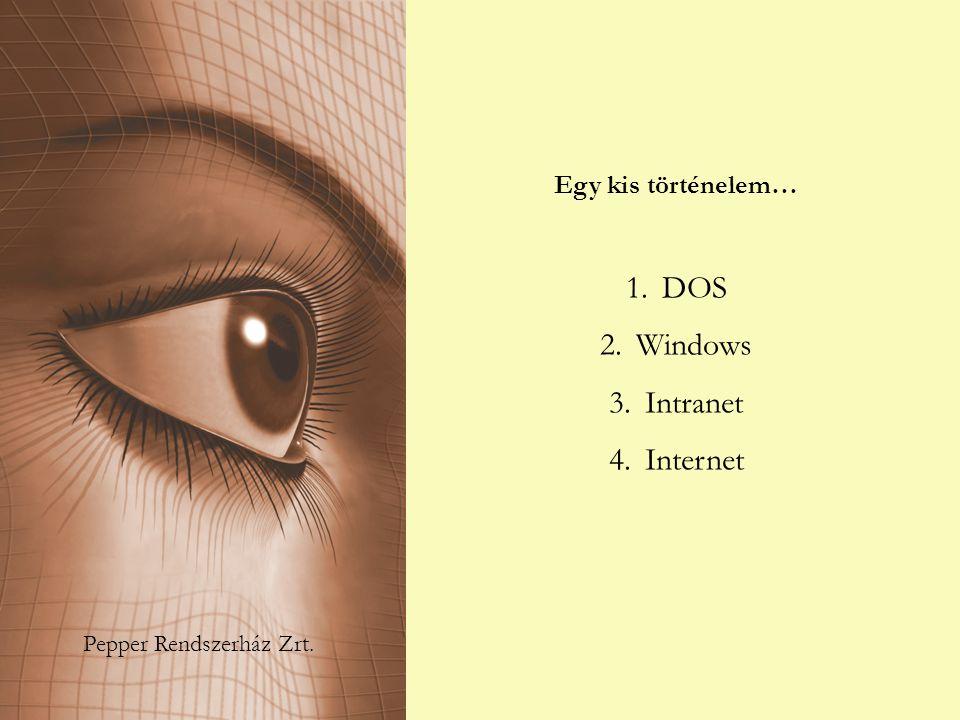 Pepper Rendszerház Zrt. Egy kis történelem… 1.DOS 2.Windows 3.Intranet 4.Internet