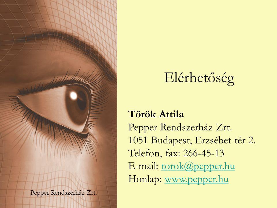 Elérhetőség Török Attila Pepper Rendszerház Zrt. 1051 Budapest, Erzsébet tér 2. Telefon, fax: 266-45-13 E-mail: torok@pepper.hutorok@pepper.hu Honlap: