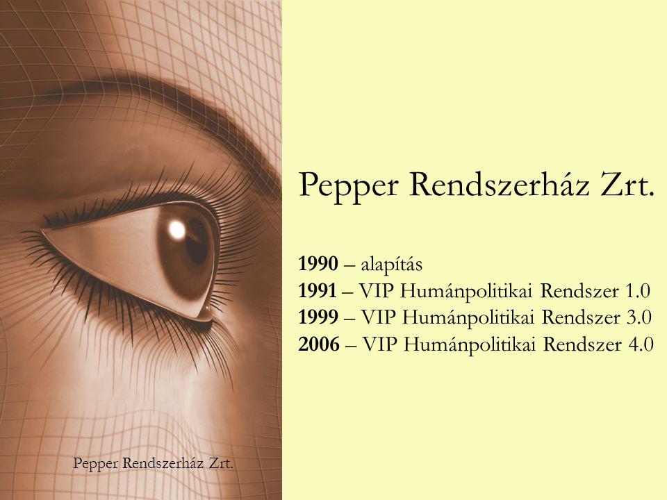 Pepper Rendszerház Zrt. 1990 – alapítás 1991 – VIP Humánpolitikai Rendszer 1.0 1999 – VIP Humánpolitikai Rendszer 3.0 2006 – VIP Humánpolitikai Rendsz