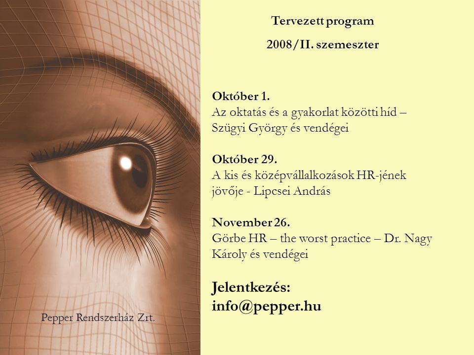 Pepper Rendszerház Zrt. Tervezett program 2008/II. szemeszter Október 1. Az oktatás és a gyakorlat közötti híd – Szügyi György és vendégei Október 29.
