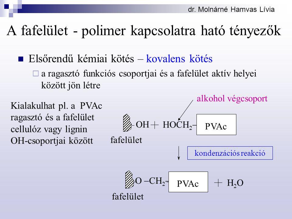 dr. Molnárné Hamvas Lívia Kialakulhat pl. a PVAc ragasztó és a fafelület cellulóz vagy lignin OH-csoportjai között alkohol végcsoport HOCH 2  fafelül