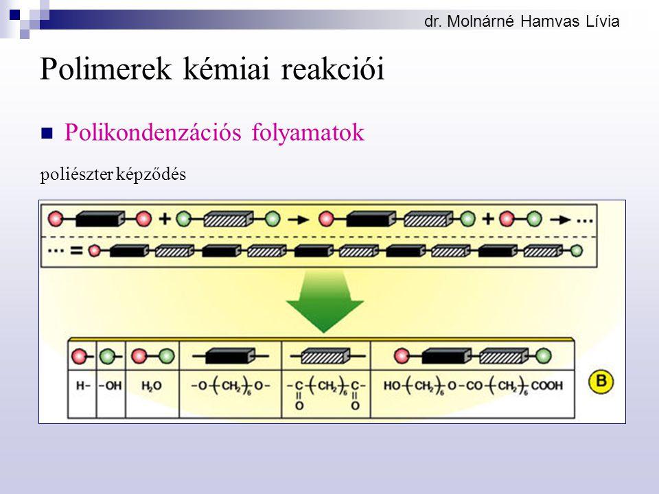 dr. Molnárné Hamvas Lívia Polimerek kémiai reakciói Polikondenzációs folyamatok poliészter képződés