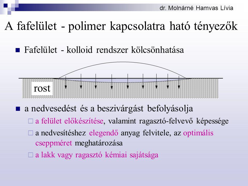 dr. Molnárné Hamvas Lívia A fafelület - polimer kapcsolatra ható tényezők a nedvesedést és a beszivárgást befolyásolja  a felület előkészítése, valam