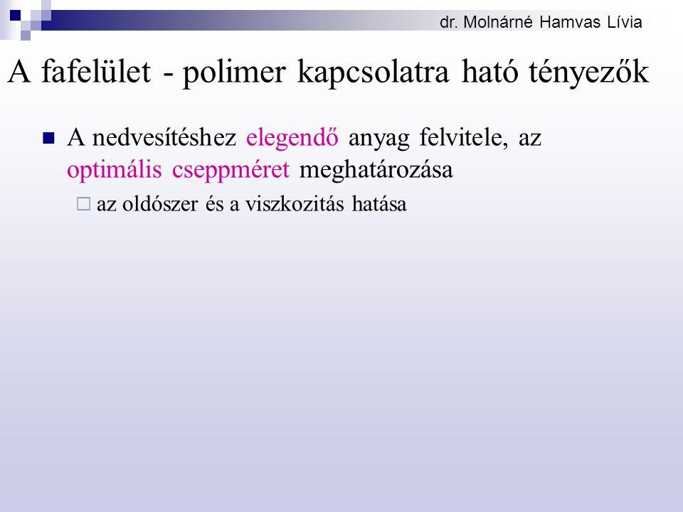 dr. Molnárné Hamvas Lívia A fafelület - polimer kapcsolatra ható tényezők A nedvesítéshez elegendő anyag felvitele, az optimális cseppméret meghatároz