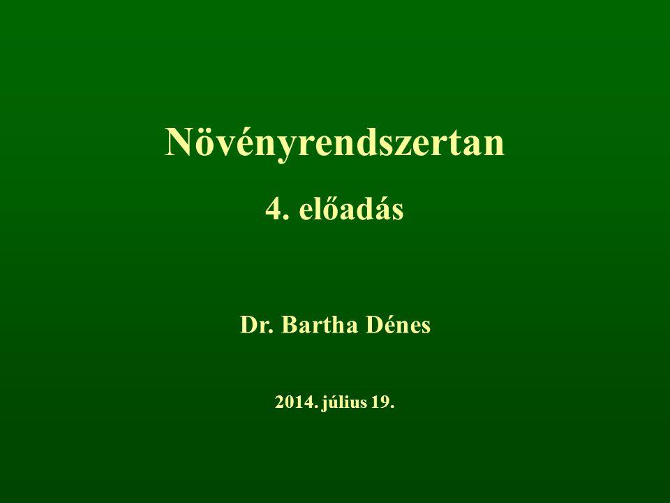 Növényrendszertan 4. előadás Dr. Bartha Dénes 2014. július 19.