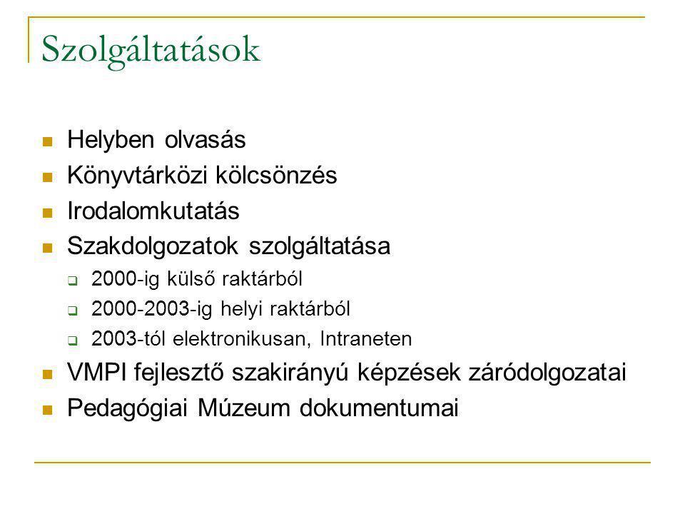 Szolgáltatások Helyben olvasás Könyvtárközi kölcsönzés Irodalomkutatás Szakdolgozatok szolgáltatása  2000-ig külső raktárból  2000-2003-ig helyi rak