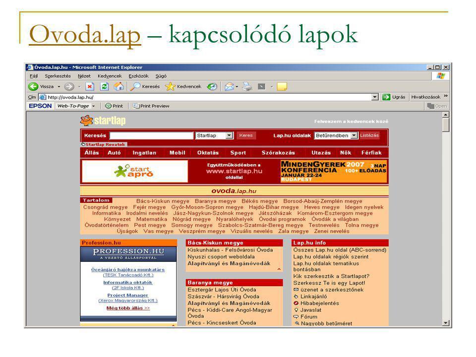 Ovoda.lapOvoda.lap – kapcsolódó lapok