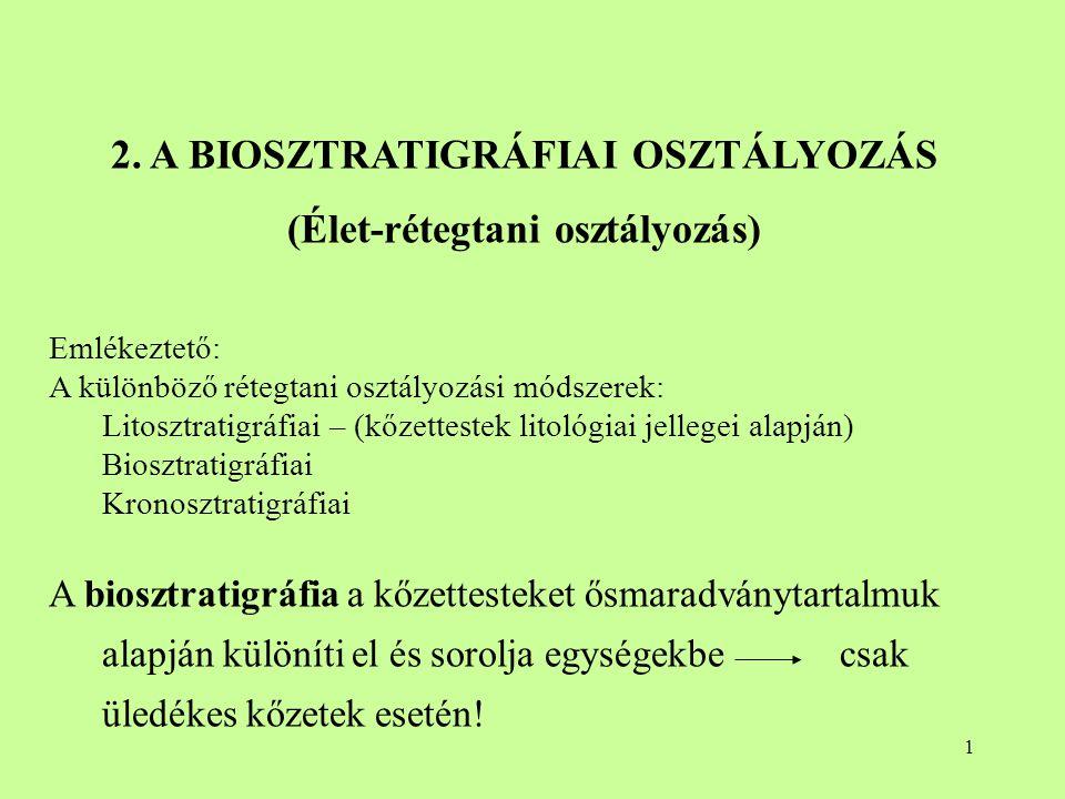2 A biosztratigráfiai osztályozás alapegysége a BIOZÓNA A biozóna a jellegzetes ősmaradványtartalma alapján lehatárolható kőzettest (tehát kalapálható kőzettest!) A biozóna térbeli (horizontális és vertikális) lehatárolása az ősmaradványok alapján történik, tekintet nélkül a kőzettani bélyegekre.