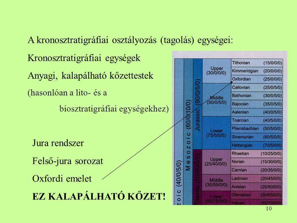 10 A kronosztratigráfiai osztályozás (tagolás) egységei: Kronosztratigráfiai egységek Anyagi, kalapálható kőzettestek (hasonlóan a lito- és a biosztra