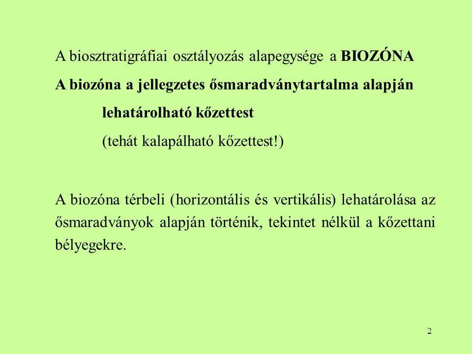 2 A biosztratigráfiai osztályozás alapegysége a BIOZÓNA A biozóna a jellegzetes ősmaradványtartalma alapján lehatárolható kőzettest (tehát kalapálható